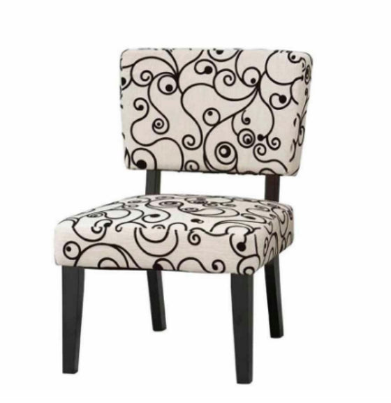 Taylor Accent Chair Cottage Living Room Furniture White with Black Circles