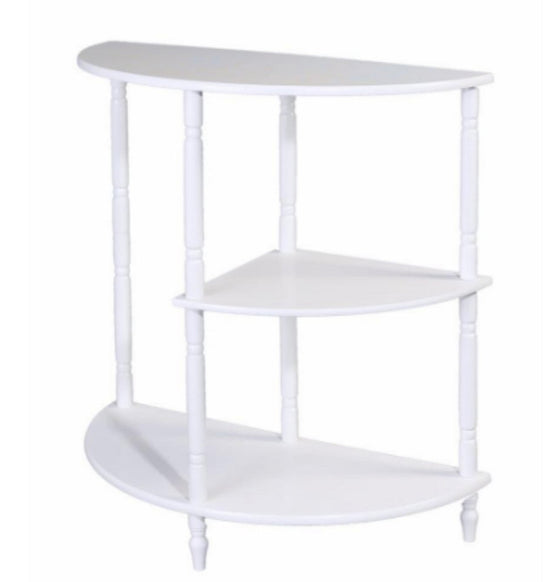 Three-Tiered End Table in White Traditional Living Room Furniture Turned Legs