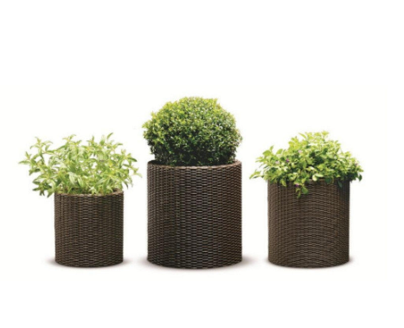 Three Piece Cylindrical Plastic Planters Set Lightweight Patio Furniture Brown