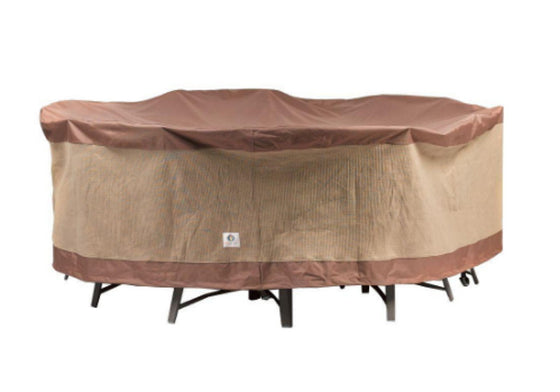 Ultimate 90 in. Round Patio Table and Chair Set Cover Mocha Cappuccino Finish