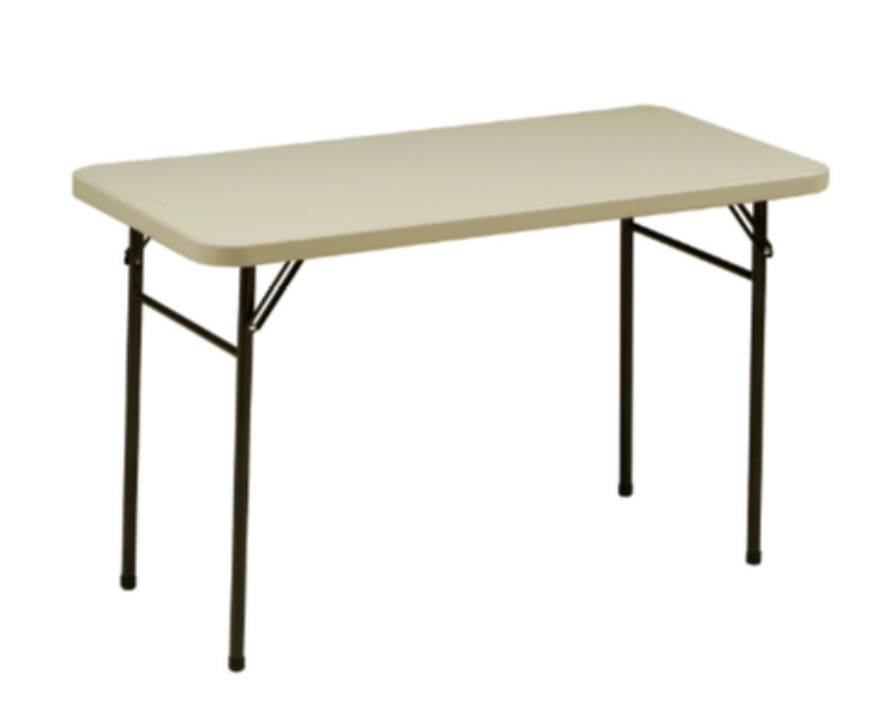 Utility Folding Table Lightweight Outdoor Patio Furniture Cream/Mocha Finish