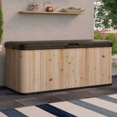 120 Gallon Hybrid Cedar and Resin Deck Box Water-Resistant Outdoor Storage Bench