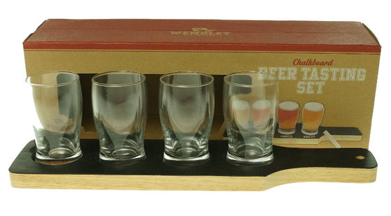 Wembley Chalkboard Beer Tasting Glass Set of 4 5 Oz. with Chalk & Serving Board