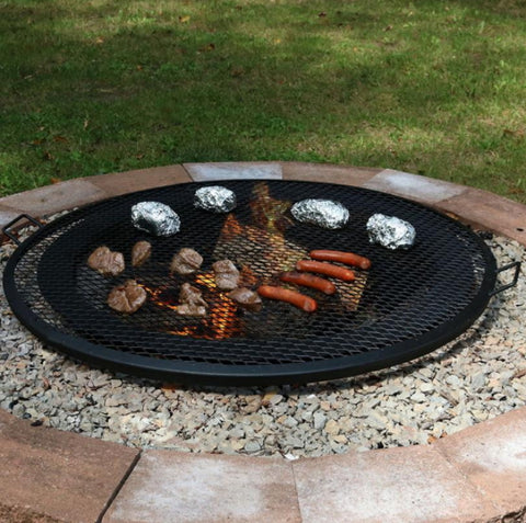 "19"" Round Outdoor Fire Pit Cooking Grill in Black"