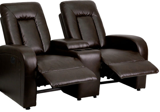 Eclipse Series 2-Seat Motorized, Push Button & Automated Reclining Brown Leather Theater Seating Unit with Cup Holders