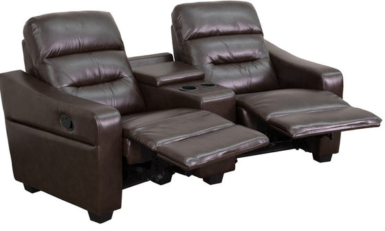 Futura Series 2-Seat Reclining Brown Leather Theater Seating Unit with Cup Holders