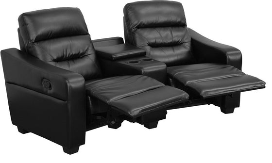Futura Series 2-Seat Reclining Black Leather Theater Seating Unit with Cup Holders