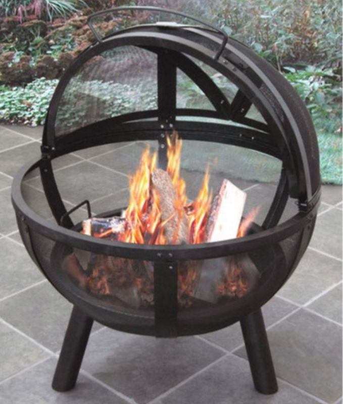 Ball of Fire Steel Bowl Fire Pit with Cover Outdoor Campfire Fireplace Black