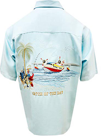 Bamboo Cay Mens Large Aqua Catch Of The Day