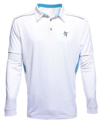 White Water Large White Admiral Polo Breathable Long Sleeve Shirt