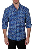 Bespoke Men's Blue X-Large Button Up Long Sleeve Sport Shirt