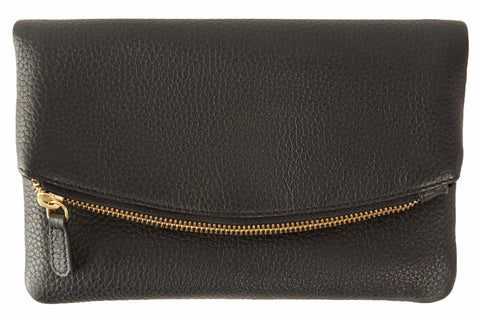 Kiko Leather Women's Black Flap Clutch with Bronze Chain & Leather Strap