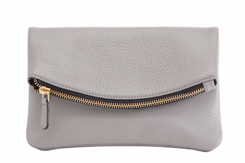 Kiko Leather Women's Grey Flap Clutch with Bronze Chain & Leather Strap