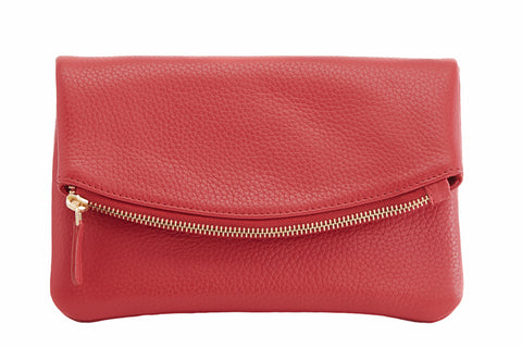 Kiko Leather Women's Red Flap Clutch with Bronze Chain & Leather Strap