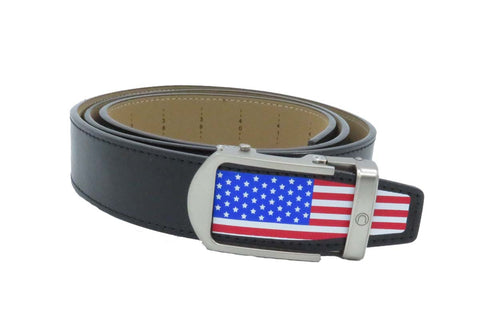 Nexbelt Men's Heritage USA Color Flag Tip Black Leather Belt