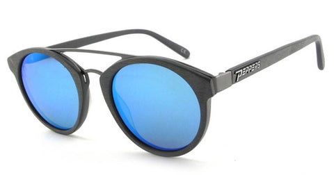 Peppers Polarized Sunglasses Wicked Brushed Grey with Blue Mirror Lens