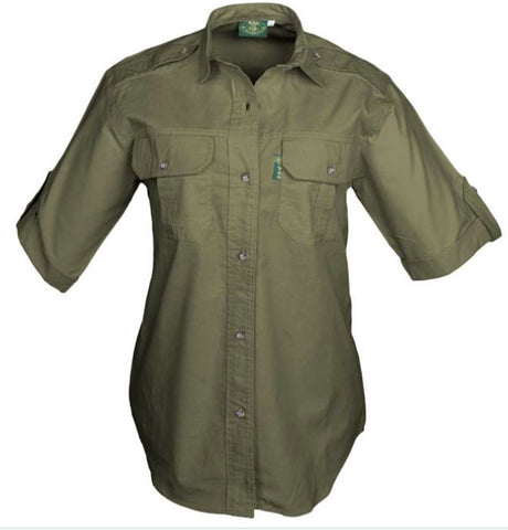 Tag Safari Women's Moss Size Medium Trail Short Sleeve Shirt with Chest Pockets