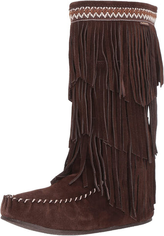 Lamo Women's Virginia Fringe Chocolate Size 6 Fashion Calf Slouch Boot