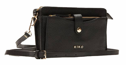 Kiko Leather Women's Black Wallet Crossbody Bag