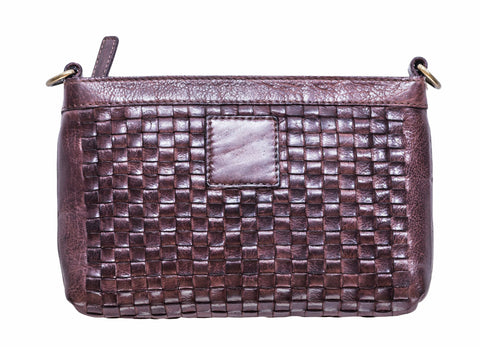 Kiko Leather Women's Weaved Crossbody Brown Genuine Leather Bag