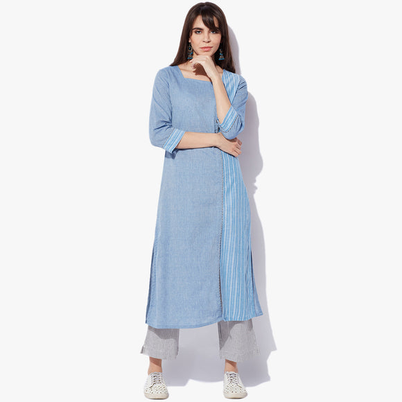 Side Placket Big Button Mangalgiri Striper Kurta - Indian Dobby