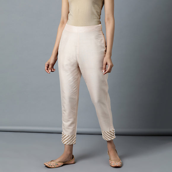 Tapered 'Katan Silk' Gota Work Baby Pink Pant with elasticated back