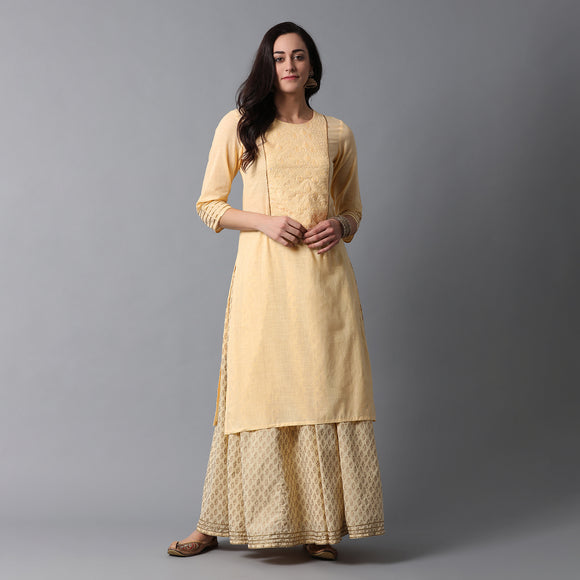 Schiffli Yoke Gota Work Cotton Slub Icecream Yellow Kurta & Gold Print Skirt Set