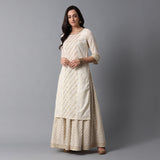 Schiffli & Gota Work Panel Cotton Slub Ivory Kurta & Gold Print Skirt Set