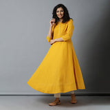 Semi-Bias Ghera Mangalgiri Zari Checks Sunshine Yellow Kurta & Ivory Gota Pants Set