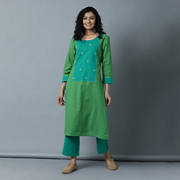 Straight Kurta with Long Centre Yoke - Small Checks