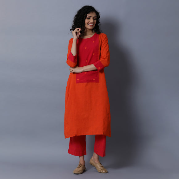 Straight Kurta with Long Centre Yoke - Thin Stripes
