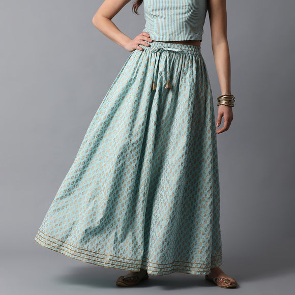Gold Print Kalidar Talc Blue Skirt with Gota Hem