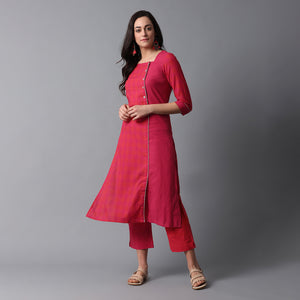 Side Overlap Big Button Mangalgiri Kurta & Pant Set