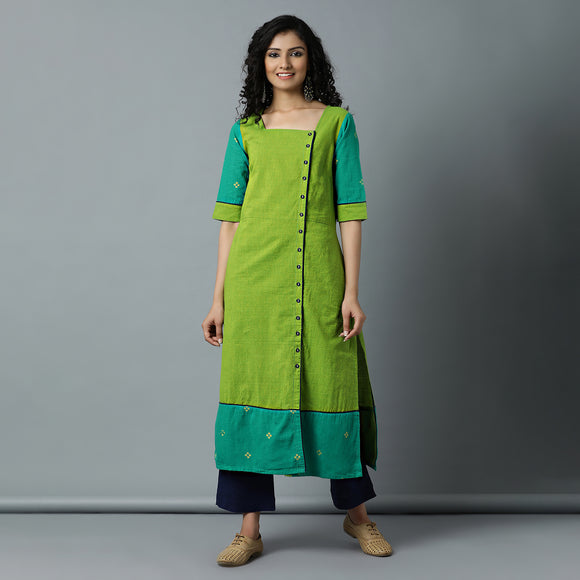 Square Nk Lime Striper Kurta & Solid Navy Pant Set