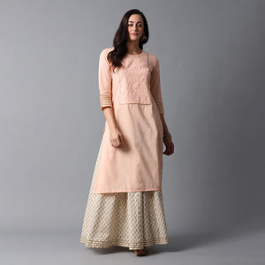 Schiffli Yoke Gota Work Cotton Slub Bleached Coral Kurta & Gold Print Ivory Skirt Set