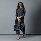 Straight Kurta with Long Centre Yoke - Big Checks