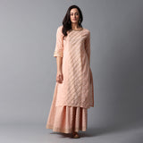 Schiffli & Gota Work Panel Cotton Slub Bleached Coral Kurta & Gold Print Skirt Set