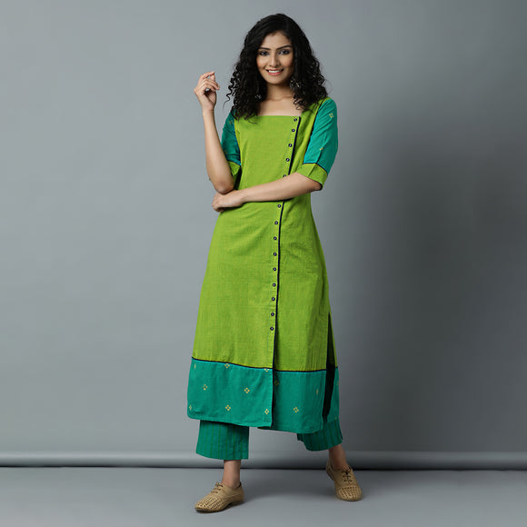 Square Nk Lime Striper Kurta & Teal Striper Pant Set