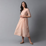 Bleached Coral Gold Print Princess Seam Pleated Cotton Slub Dress