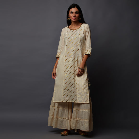 Diagonal Gota Work Schiffli Cotton Slub Kurta