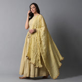 Gold Buta Print Skirt, Gold Striper Print Blouse and Gota Dupatta Set