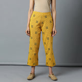 S/L A-line Yellow Embro Checks Kurta and Dobby Pants Set