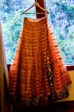 Antique Gold Embellished Bridal Lehenga with Choli Blouse & Embroidered Dupatta - Indian Dobby
