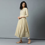 Semi-Bias Ghera Gold Printed Gota Detail Icecream Yellow Kurta & Ivory Pants Set
