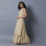 Cut & Sew Panel with Gota Bodice Gold Print Straight Kurta
