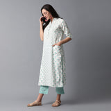Handblock Printed Front Pockets Kurta and Checks Pants Set