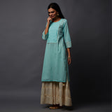 Schiffli Yoke with Sequins & Gota work Long Kurta