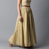 Gold Print Kalidar Faded Lime Skirt with Gota Hem