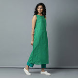 S/L A-line Embro Checks Kurta and striper Pants Set