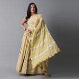 Gold Buta Print Skirt, Gold Striper Print Blouse and Contrast Frill Dupatta Set